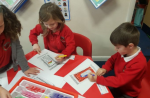 Colouring prayer mats for 'World Religion Day'.